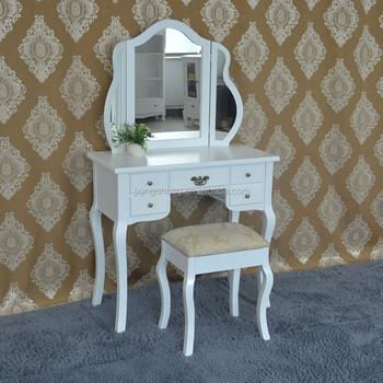 Blanco Tocador Espejo Heces Dormitorio Muebles De Estilo Francés ...