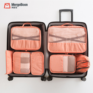 Mergeboon travel style luggage organizer bag 7 set packing cubes for women