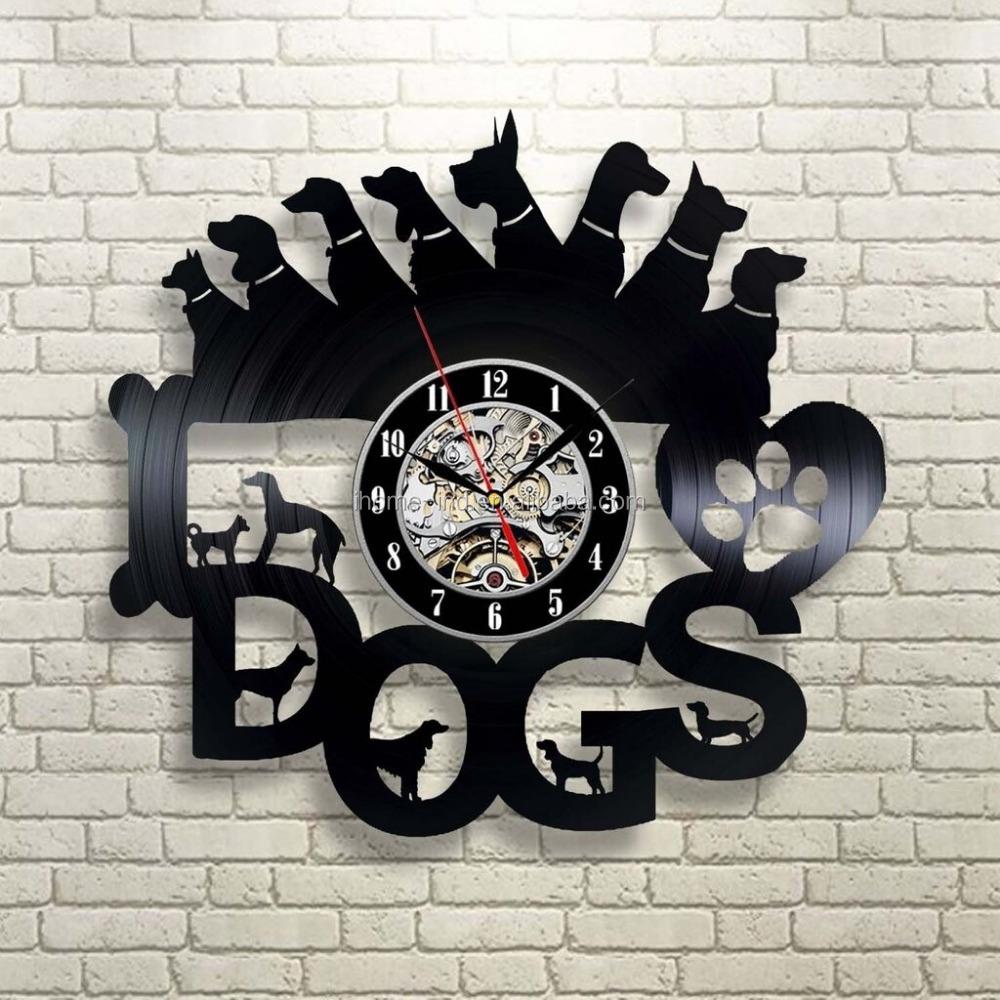 Montado en la pared reloj perro diseño vinilo reloj Corgi Reloj de ...