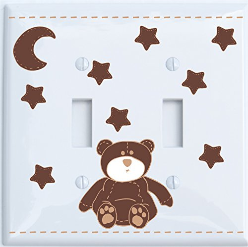 Brown Teddy Bear Light Double Switch Plate Cover with Brown Moon and Stars / Teddy Bear Nursery Decor (Double Toggle)