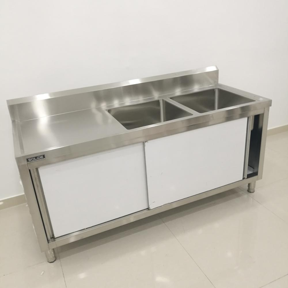ZHONGKAI China Manufacturer Double Bowl Kitchen Stainless Steel Commercial  Sink