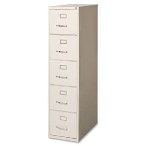 Lorell Fortress Series 28.5 Letter-size Vertical Files - 15quot; x 28.5quot; x 61.4quot; - Steel, Aluminum - 5 x File Drawer(s) - Letter - Ball Bearing Glide, Label Holder, Locking Drawer, Heavy Duty - Putty