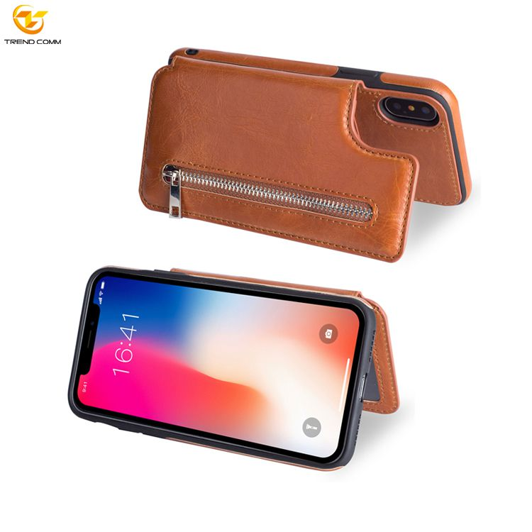 Mobile Phone pu Leather cover For iPhone XS xs max 11 11 pro max zipper wallet Case