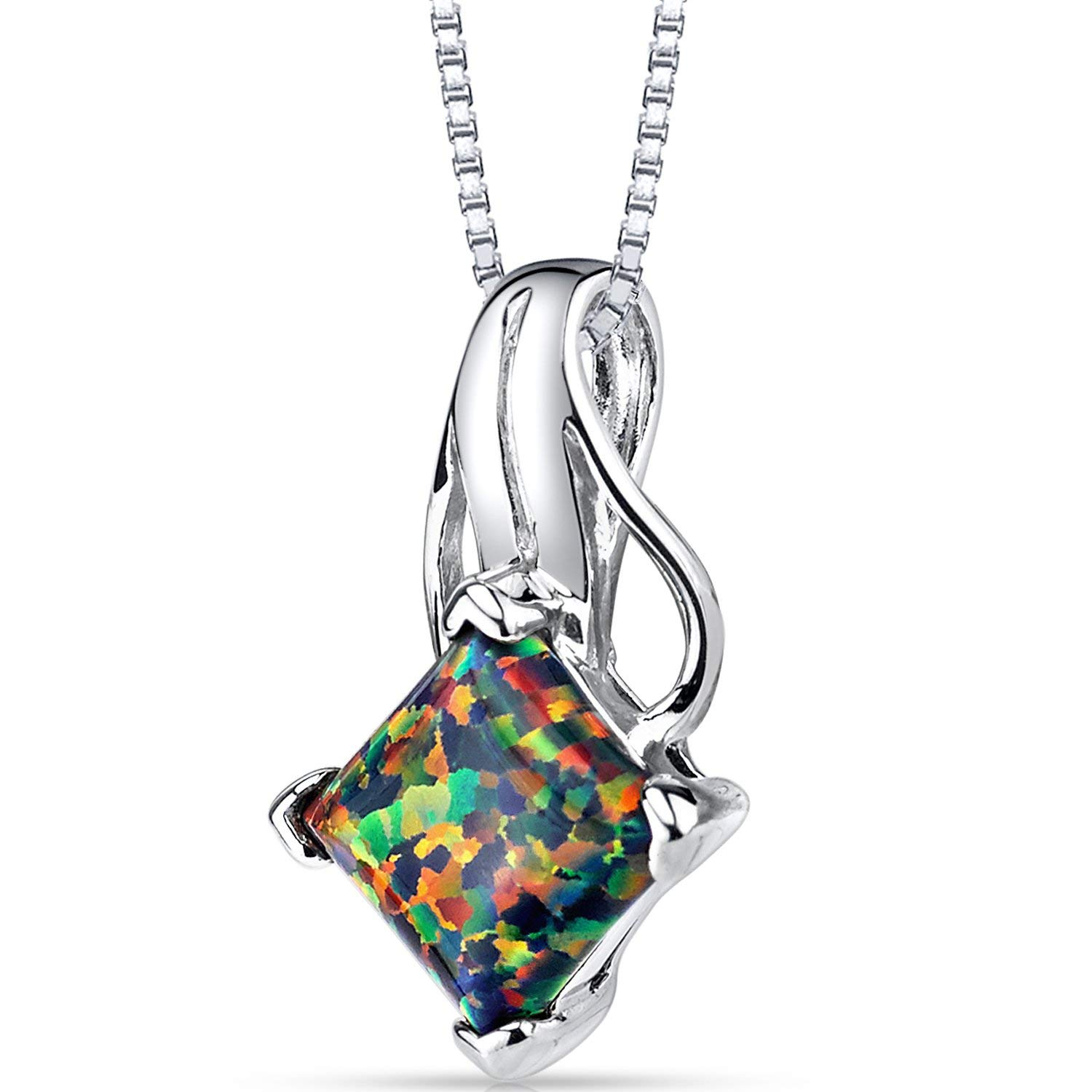 Created Black Opal Princess Cut Pendant Necklace Sterling Silver 1.50 Carats