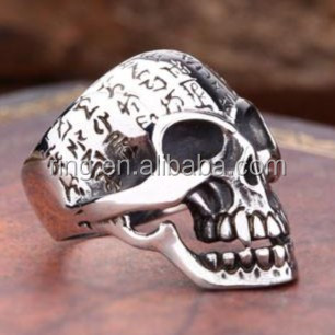 Mens Gothic Jewelry Fashion For Harley Rider Alien Symbol Skeleton