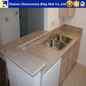 Golden Peach Granite Countertop With Square Hole Cut Out