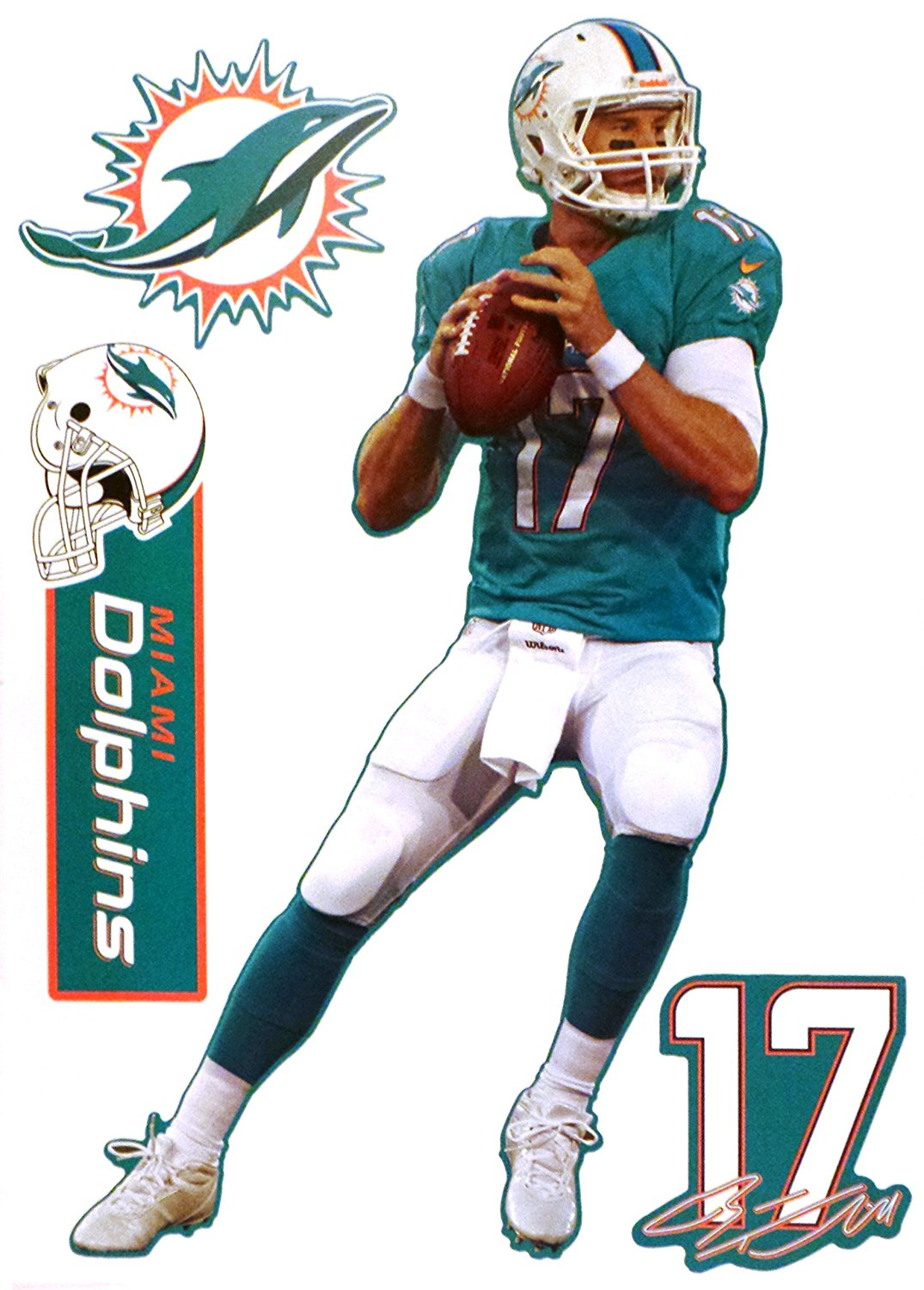 """Ryan Tannehill Miami Dolphins Official NFL Removable and Re-Usable Vinyl Wall Graphic 16"""" INCH"""