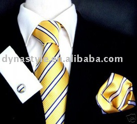 Wholesale Men's Shirt With Yellow Stirp Tie And Kerchief