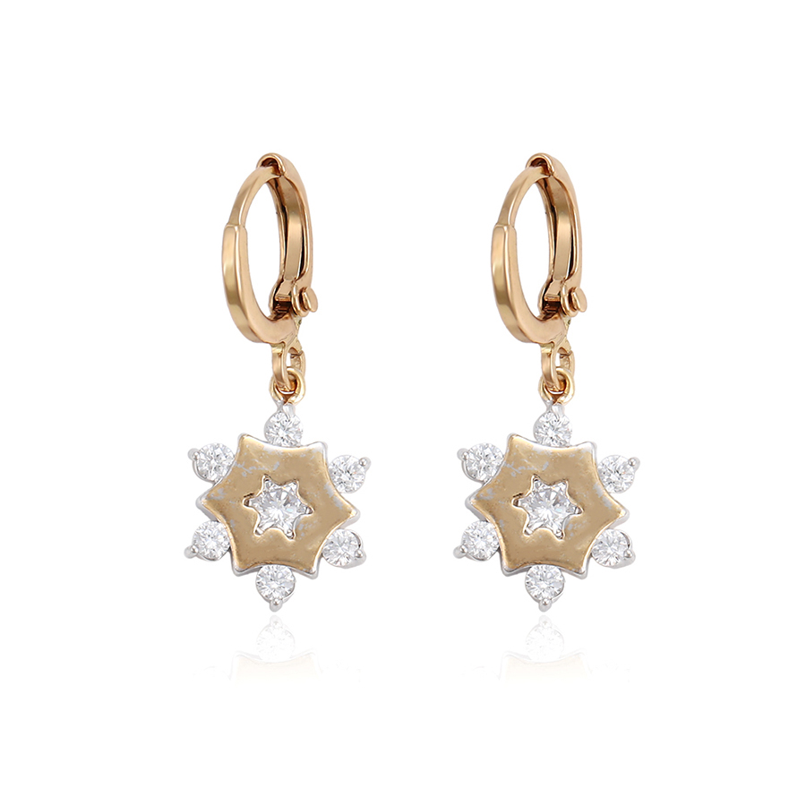 25600 xuping latest multicolor snowflake shape fashion drop earrings