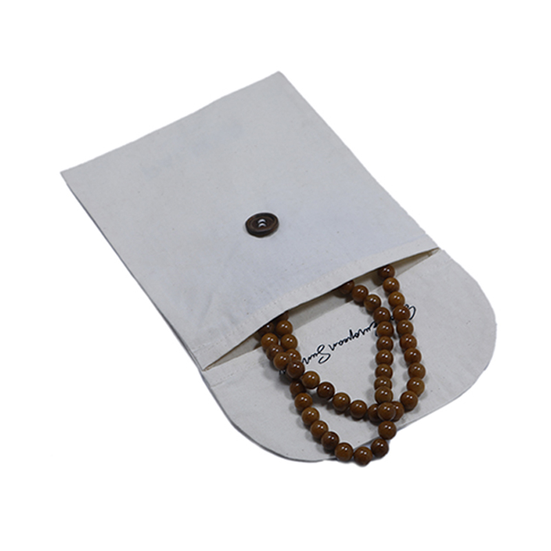 Eco Friendly Custom Natural 면 White Mini Button Flap 보석 Earring Necklace Gift Pouch Bag