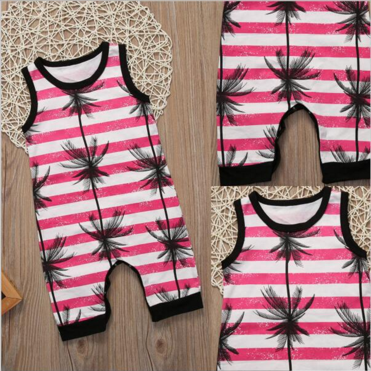 Summer baby sleeveless coconut tree print stripe crotchless bodysuit