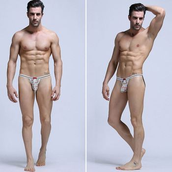 buttocks lift man ice silk underwear printed mini men thong