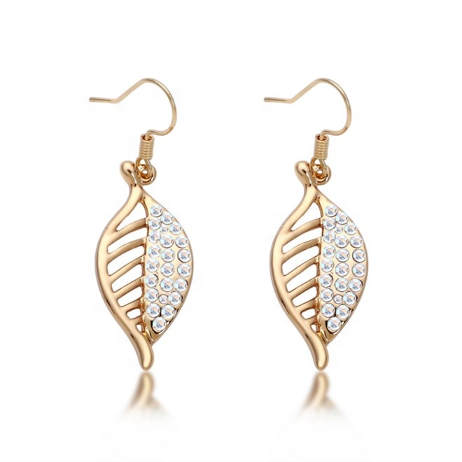 Leaf designs fashion jewelry austrian <strong>crystal</strong> pave dangle earrings for women