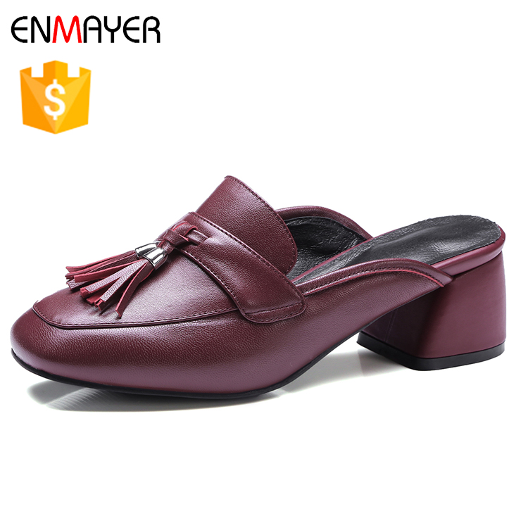 2017 new arrival sheep skin tassel flower lady slippers mules