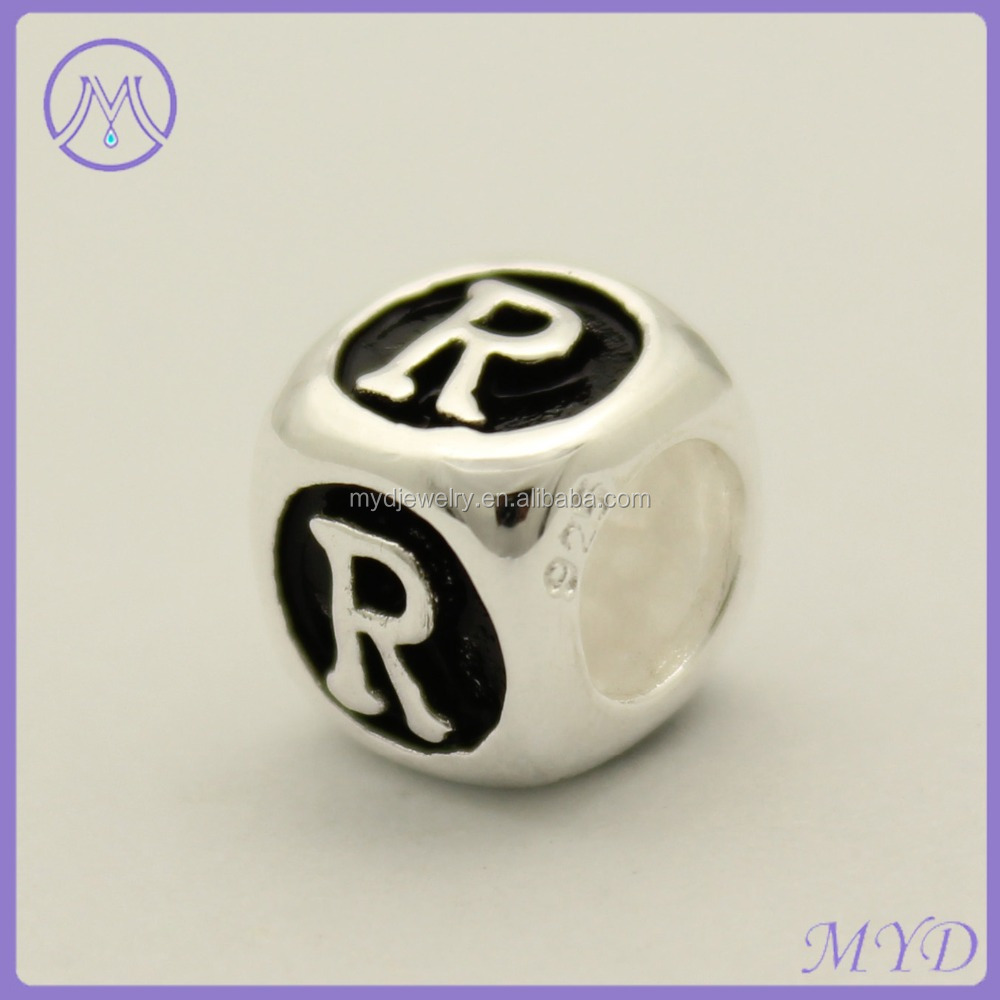 Carved 925 sterling sterling silver dice letter R beads for European charms bracelet