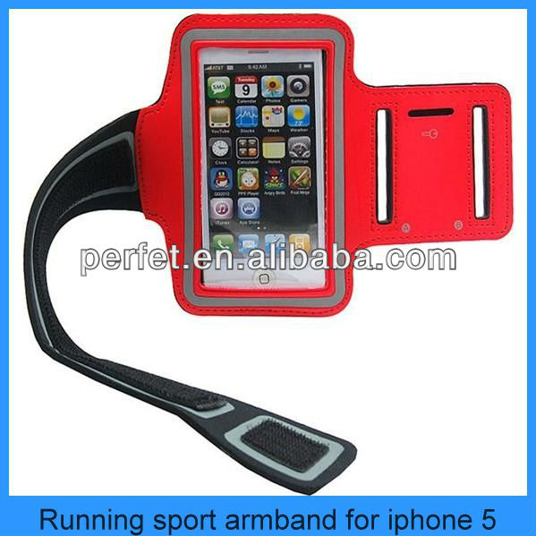 hot sale rubber armband pocket for iphone5 5s-red