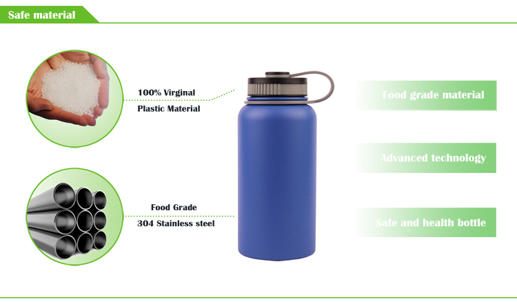 32 oz Blue cheap stainless steel wide mouth  hydro insulated vacuum flask sports water bottles with straw lid amazon