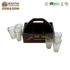 Wahtai Fresh Vintage Design 6 Coffee With Decorative Wooden Glass Caddy For Cafe Stroe