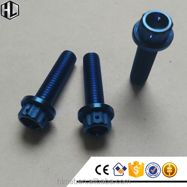 Aerospace Grade Ti6Al4V M8x30 Titanium Double Hex Head Bolt Drilled for Racing in Anodized Blue Color