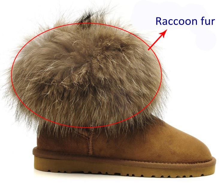 Natürliche Marderhund Fell Boot Topper Real Waschbär Haut Fell Boot ...