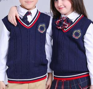 pupil sleeveless v-neck primary school uniform vest sweater