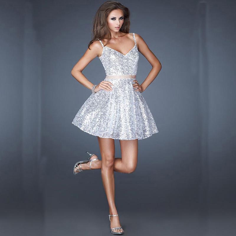 Silver Sequin Short Homecoming Dresses 2016 V neck Cute ...