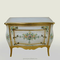 French style furniture hand painted 3 drawers storage sideboard wooden dining room sideboard