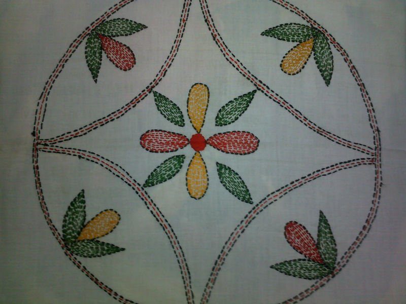 Hand Embroidery Cotton Cushion Cover Kantha Work Buy Handmade