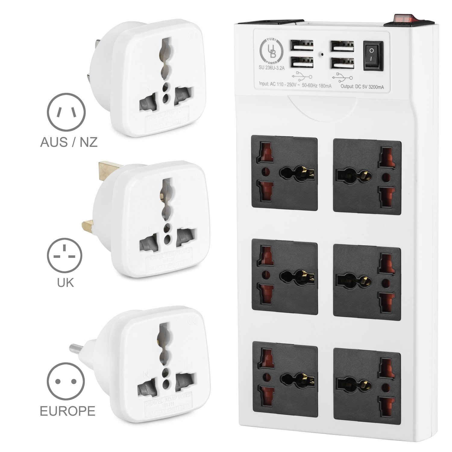 Cheap Surge Protection Circuit Breaker Find Get Quotations Yubi Power Strip W 6 Universal Sockets 4 Usb Ports 100v
