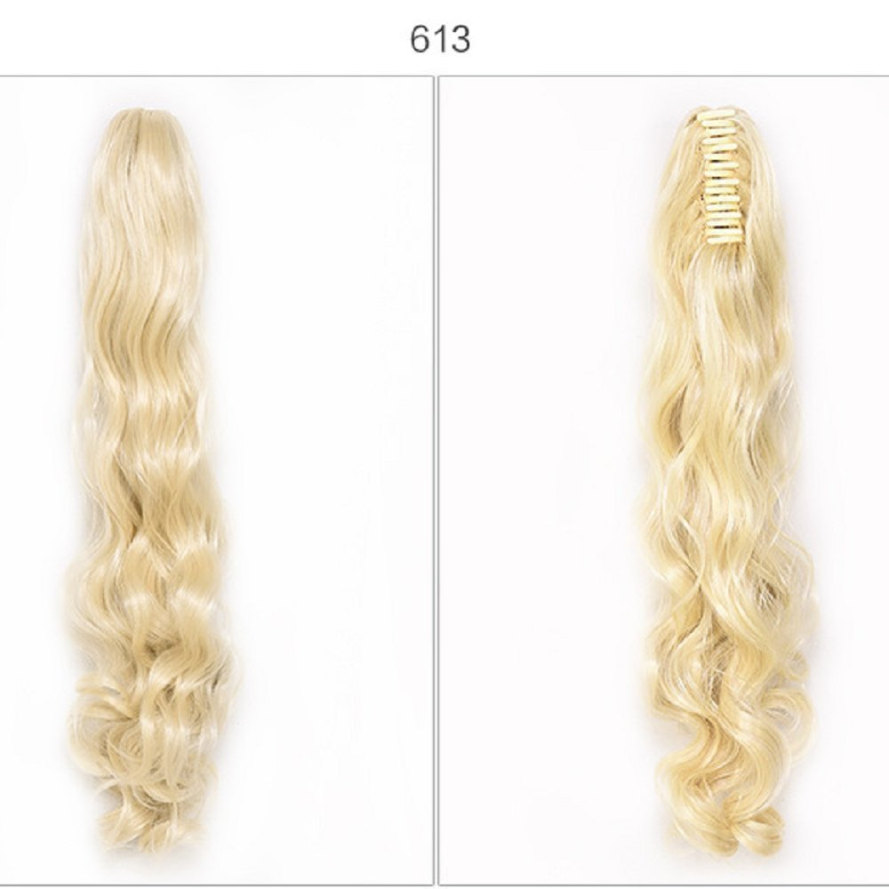 synthetic hair Long Big Wavy Light Blonde Claw Ponytail Clip in Hair Extensions One Piece Handy Jaw Pony Tail American Style Hairpiece (613#)