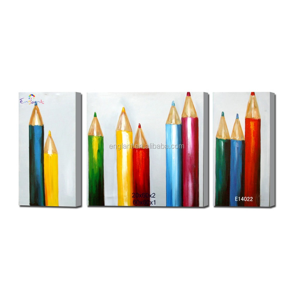 2016 chinese still life painting of rainbow pencils