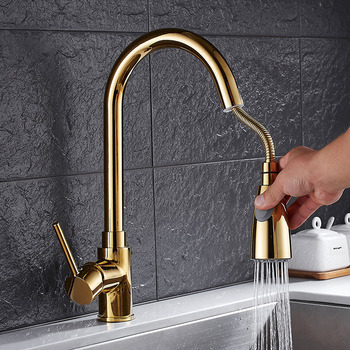 H8055 Gold Single Lever Pull Out Sprayer Prep Gold Kitchen Sink