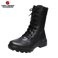 Military Army Molding Construction Black Full Leather Shoes with Side Zipper Battle Boots