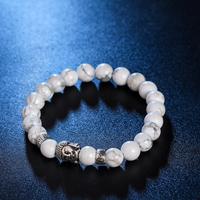 Wholesale Prayer Rosary Stone Beads Elastic Bracelets Marble Tiger Eye Stone Natural Stone Bracelet Silver Buddha Charm Bracelet