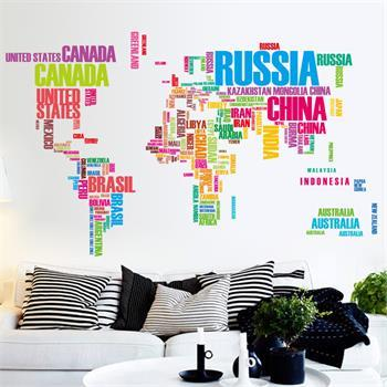 World Map Art Wall Decal Kid Study Office Chalkboard Decorative Wall Stickers,Removable World Map Wall Stickers