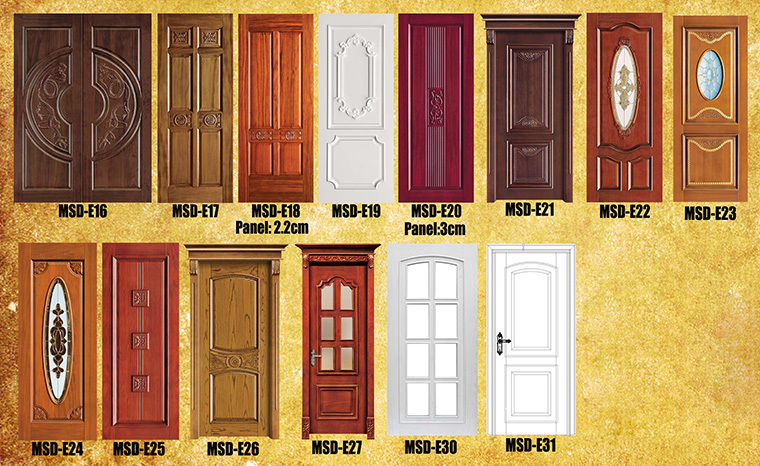 Flat main door design mahogany wood doors with glass for Main door design for flat