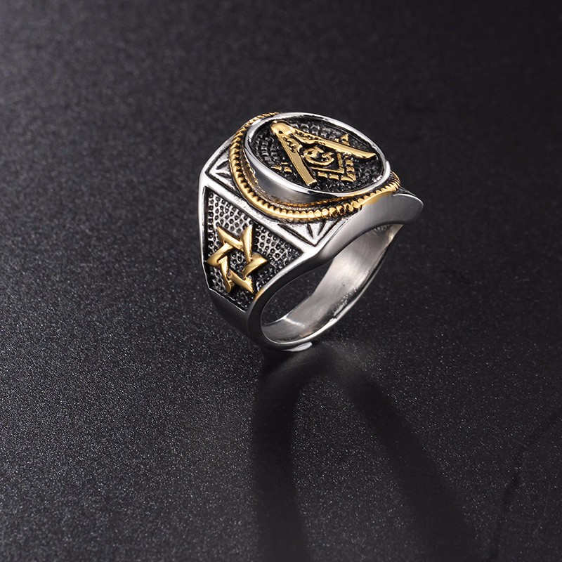 Vintage Punk Style Stainless Steel Masonic Rings Classic