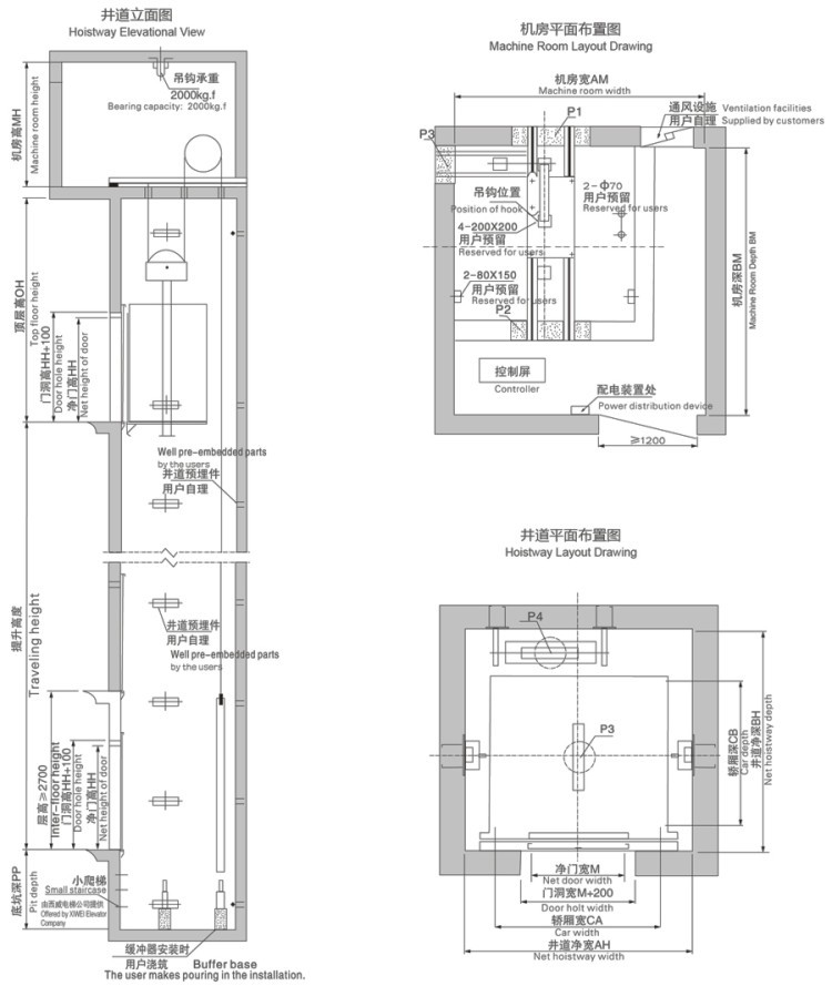 xiwei easy install passenger elevator home electric lift electrical rh alibaba com Elevator Shaft Design Gearless Traction Elevator Installation