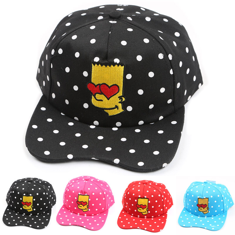 Direct Selling Simpson Cap Hat with Dot Printed Flat Brimmed Adjustable Hip hop Outdoor Child Sun