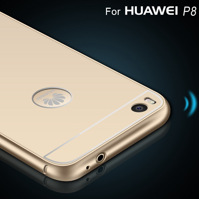 online retailer b89ed 1d22a with Brand LOGO hole Case for Huawei P8 Lite luxury Gold Aluminum, Acrylic  Hard Back Cover Case For Huawei P8 mini Cell Phone