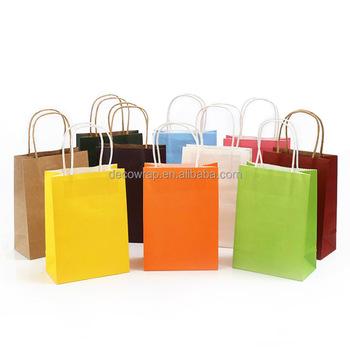 pas cher sac en papier kraft sac cadeau avec poignée/cadeau de fête