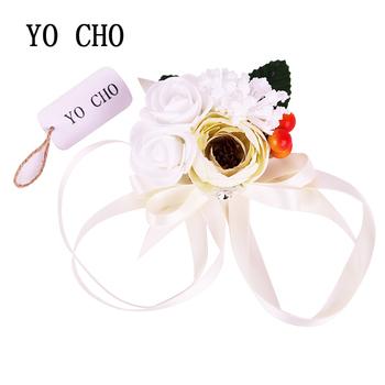 Yo Cho Leaf White Beige Silk Foam Berries Rose Wrist Corsage