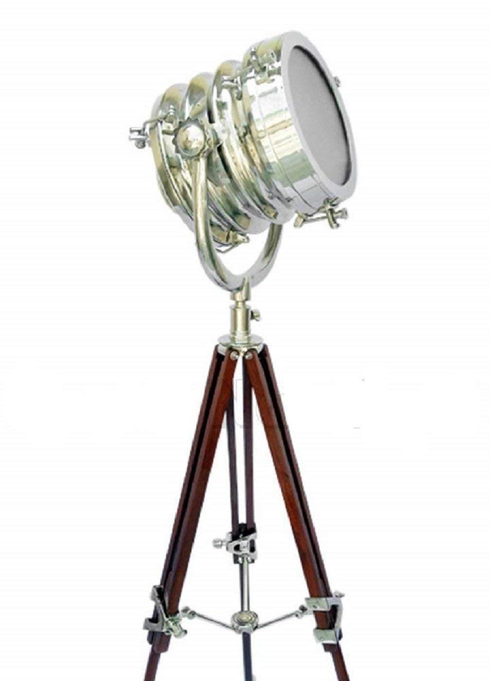 Nautical Electric Lamps Teak Wood Tripod Floor Lamp Stand Home Decor