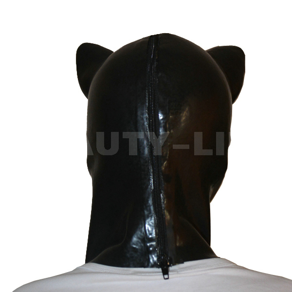 2015 new arrival latex hood mask sexy fetish animal series zipper on back cat