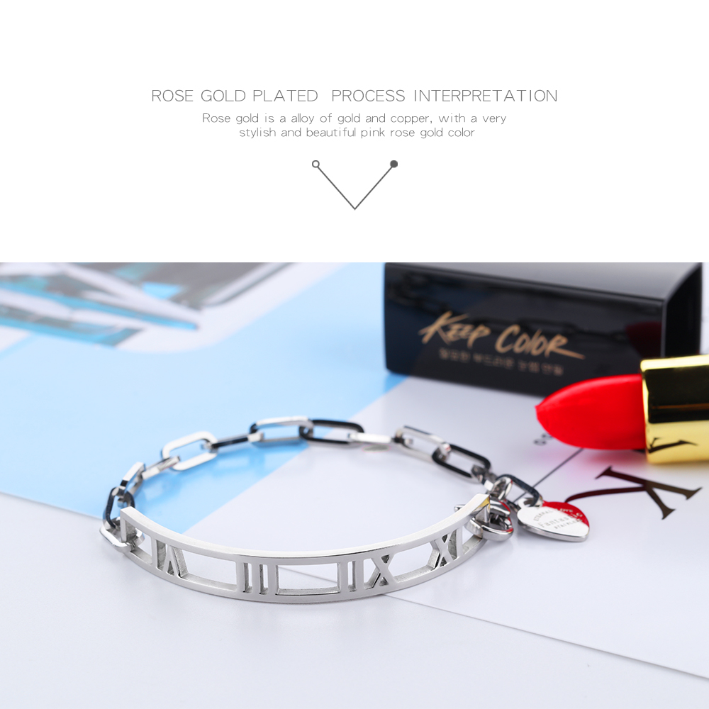 2018 Women Girls Stainless Steel Silver Chain Bangle Bracelet Heart