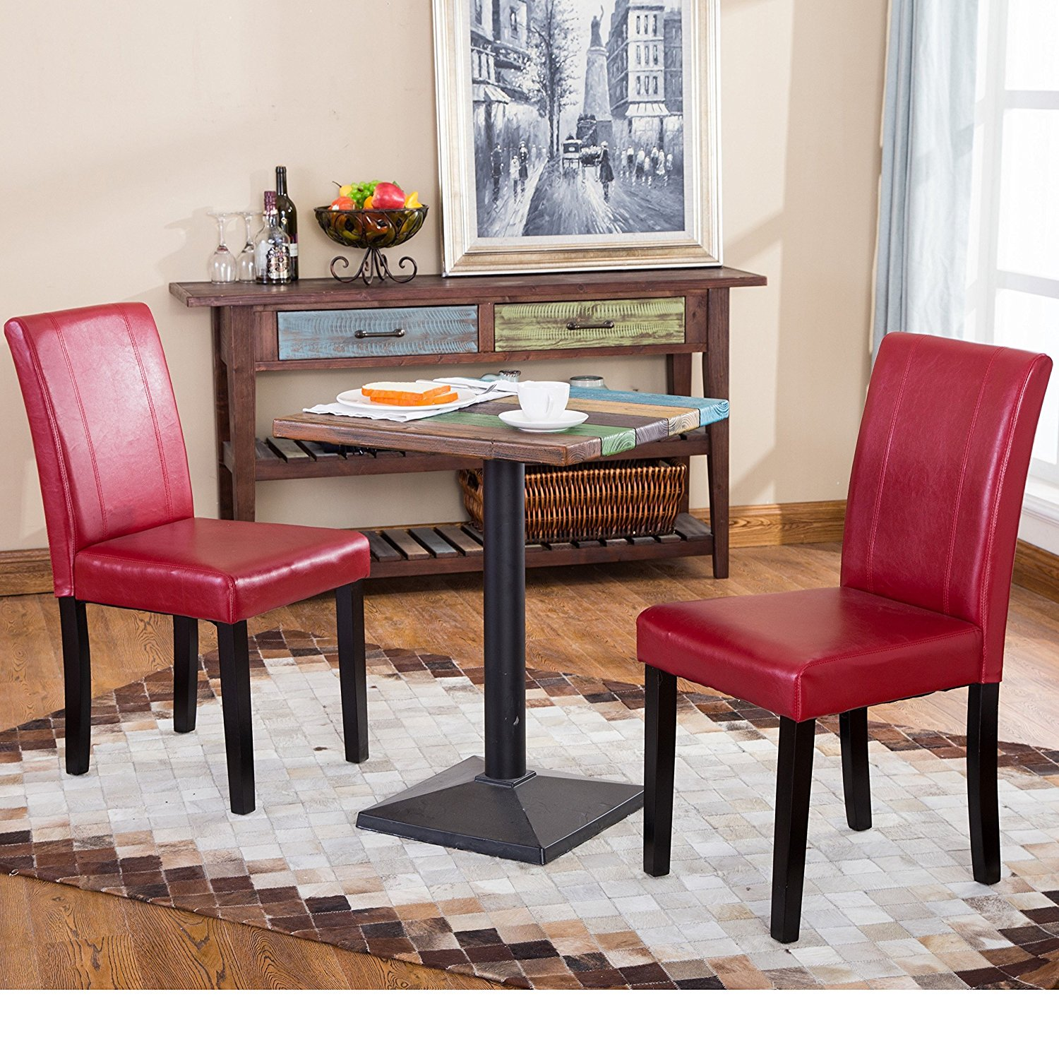 Table And Black Chairs 2 Piece Red Dining Faux Leather Wood Material Contemporary Casual Urban Style