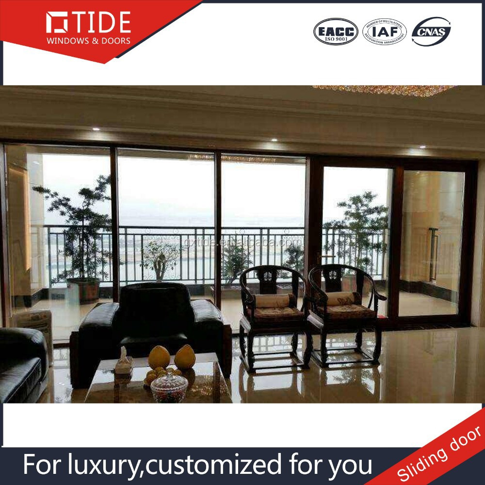 Made in china professional powder coated sliding glass doors,wood and aluminum