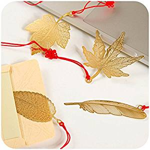 KOOTIPS 4 Pcs Different Leaf Feather Ultra Thin Metal Brass Bookmark Value Pack Chirstmas Gift