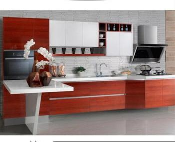 Wooden grain contemporary melamine kitchen unit doors for hotel
