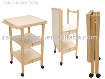 Foldable Wooden Kitchen Service Trolley Cart With 3 Folding Tiers 4 Casters  For Home Hotel Restaurant